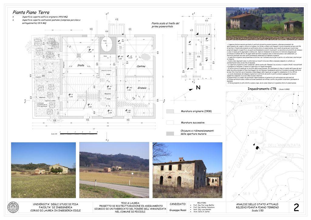 Tav 2 rilievo pianta piano terra for Progetti di piani casa fienile